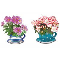 China Garden Ceramic Jumbo Tea Cup Planters With Attached Saucer Stripe / Polka Dots on sale