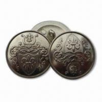 China 15mm Zinc Alloy Metal Buttons in Various Sizes, Customized Designs/Logos are Accepted wholesale