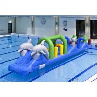 China Colorful Double Dolphin 12m Aqua Run Inflatables , Blow Up Water Islands For Pool wholesale