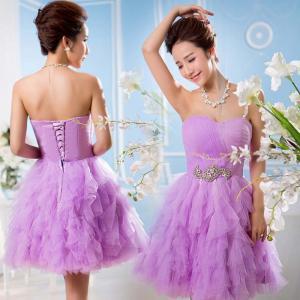 China Hot Sales 2014 Red/White/Hummus/Purple Lace-up Crystal Crepe Short Formal Prom Dresses Vestido De Madrinha Plus Size wholesale