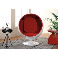 China Red Fabric Upholstered Modern Swivel Chair Ball Shaped For Children wholesale