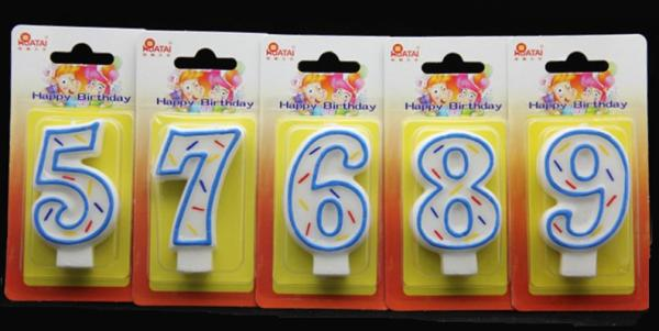 Quality Birthday Candles Handmade Number Candle with Blue Edge and 3 Colors Lines Painted for sale