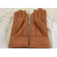 China Genuine Shearling Brown Warmest Sheepskin Gloves M / L Size For Kids / Adults wholesale