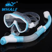 China Fashion Light Blue Diving Snorkel Set , Commercial Waterproof Dry Snorkel And Mask Set wholesale