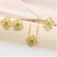 China Gold And Gemstone Jewelry Sets , Emerald Diamond Ring / Earrings / Necklace wholesale