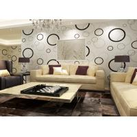 China Geometric Non - woven Modern Removable Wallpaper with Black and White Circles on sale
