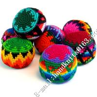 China Hand Knit Crochet Hacky Sack Footbag Teething Toy Kick Ball Juggling Hack Sack Crocheted Ornament Christmas Beads Dec wholesale