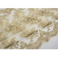 China Golden Corded Floral Embroidered Tulle Fabric Scalloped Edge For Wedding Dresses wholesale