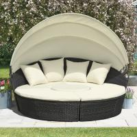China KD Round Wicker Outdoor Rattan Daybed In All Weather With 4pcs Pillow wholesale