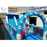 China Giant outdoor Inflatable ocean park water slide with bounce house for rental or party wholesale