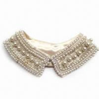 China Handmade Neck Collar, Made of Pearl, Lace and Satin, Various Colors are Available on sale