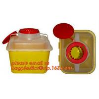 China Hospital Medical Waste Box Disposable Plastic Sharp Container,yellow round shape 0.8L 2L 4L 6L bio medical waste bin squ wholesale