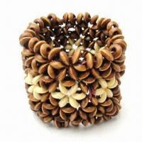 China Fashionable wooden bracelet, made of wooden beads and connected by elastic band wholesale