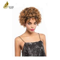 Buy cheap Color human hair wig Brazilian curly hair wig 8 inch virgin Brazilian hair 360 lace front wig from wholesalers