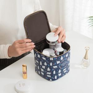 China Metal Zipper PU Leather Cylinder Bucket Makeup Bag Case wholesale