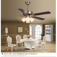 China Decorative Plywood Antique Brass Ceiling Fan And Light With 4pcs Lamps , 5pcs Leaf Blades wholesale
