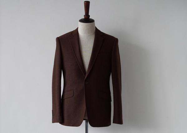 Quality Woven 100 Percent Brown Wool Suit  Plain Pattern Four Sleeve Buttons Plus Size for sale