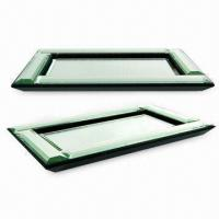 Mirror Tray/Top for Bathroom Accessories, with Wooden Bottom, Measuring 12.5 x 7.5 x 1 Inches
