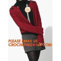 China Red Long Womens Cardigan, Cable Knitting Lady Cashmere Pullover Knitted Sweater for Women wholesale