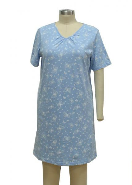 Quality Print Single Jersey Ladies Night Dresses Sleepwear Summer Cotton Nightgowns for sale