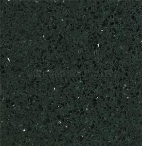 China Black Quartz Stone Slab with Bullnose Edge on sale