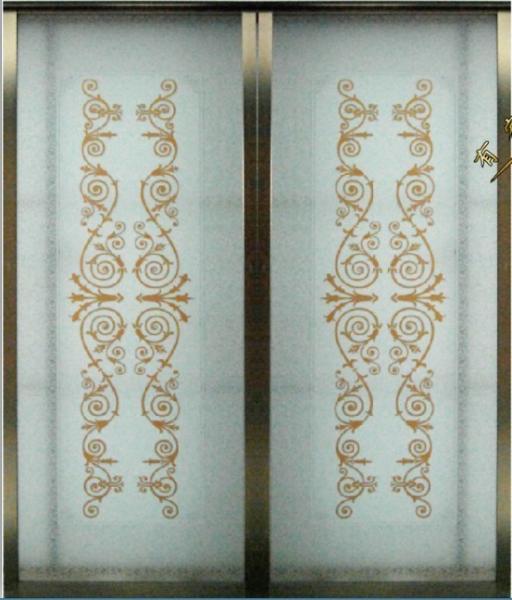 Decorative Glass Sliding Door Aluminum Frame Interior
