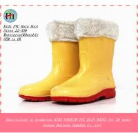 China Cheap Children's Rubber Rain Boots with Fleece Fur Lining on sale