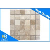 China Square Pattern Natural Travertine Stone Mosaic Flooring Tile 12 x 12 Marble Wall Tile on sale