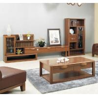 Melamine Finishing Living Room Wall Units Solid / Rubber Wood Material