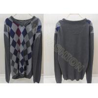 China V Neck Winter Mens Wool Sweaters in Fine Knit , Mens Argyle Sweaters wholesale