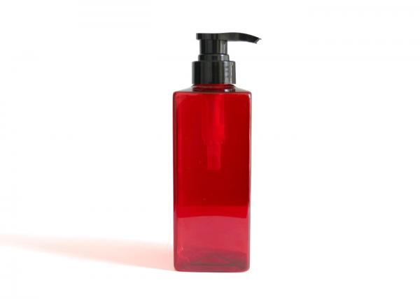 Quality Beautiful Red Cosmetic PET Bottle / Reused Empty Square Cosmetic Bottles for sale