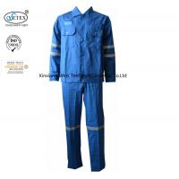 China Cotton Blue Fireproof Boiler Suit With Reflective Trim Anti Static 240gsm on sale