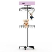 China Knock Down Construction 2 Tier Metal Floor Display Stands on sale
