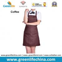 China Dirty resistant coffee color unisex working apron with 2pockets for coffee shop waiters wholesale