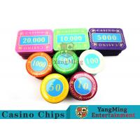 Multi - Color Print Crystal Casino Poker Chip Set Tough And Durable for sale