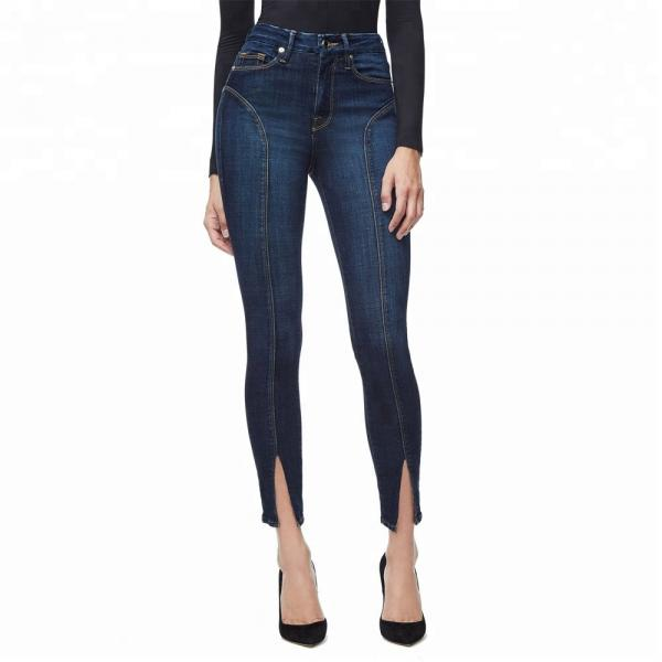 Quality OEM ODM Ladies Jeans Pant Split Fork Stylish Jeans For Girls for sale