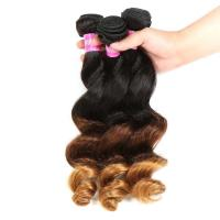 China Peruvian Hair Loose Wave 3 Tone Ombre Hair Weave 1B / 4 / 27 Blonde Hair wholesale