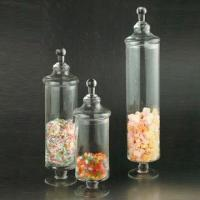 China Clear glass storage container, available in various sizes/colors, suitable for kitchen, handmade wholesale
