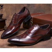 China Almond Wingtips Toe Classic Dress Shoes Formal Occasions With Carved Patterns wholesale