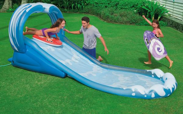 Inflatable garden water slides images for Garden pool with slide
