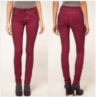 China 2013 fashion skinny jeans pants for women in soft red color   wholesale