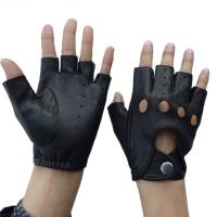 China Fingerless Mens Leather Driving Gloves Plain Style Hand Sewing Stitching wholesale