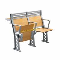 China Aluminum Stand Lecture Hall / School Desk And Chair With High Back Armed Plywood Back And Seat wholesale