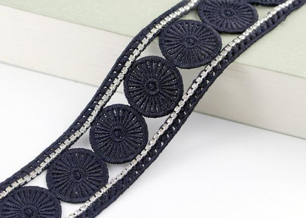 Quality Custom Ribbon Black Embroidered Lace Trim With Rhinestone / Embroidered Bridal Lace for sale