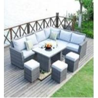 China L Shape Sectional Rattan Outdoor Furniture Sofa Dining Sets With Ottoman wholesale