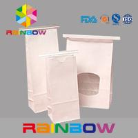 China White Kraft Paper Flat Bottom Window Bags With Tin Tie , Chia Seed Packaging on sale