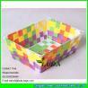China LDKZ-006 colorful woven strap tote rectangular storage basket bins,handmade storage container wholesale