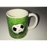 China Customized Ceramic Novelty Mug 3D Relief Logo Decal Football Mug wholesale