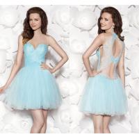 China Light Blue Tulle Sweetheart Girls Homecoming Dresses Lace Applique with Bow Pleats wholesale