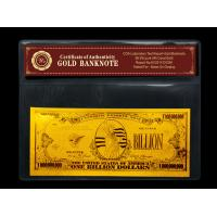 China Gold crafts American One Billion gold foil banknote for gift wholesale
